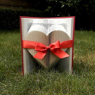 Solid Heart - Red Ribbon - Folded Book Art - Handmade - Book Sculpture