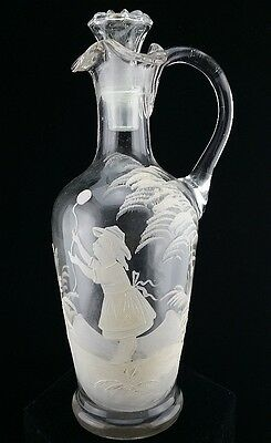1800's ANTIQUE MARY GREGORY YOUNG GIRL VICTORIAN WHITE BOHEMIAN GLASS EWER