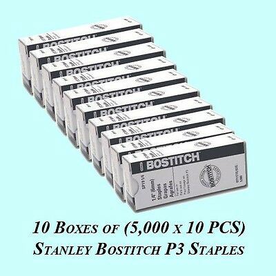 "10 Boxes of Stanley Bostitch P3 Rust-free Staples SP19 1/4"" 5000 staples per box"