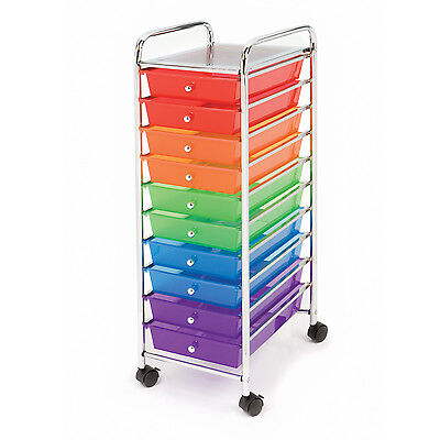 New 10 Multi Color Drawers Metal Rolling Cart Scrapbook Supply & Paper Storage