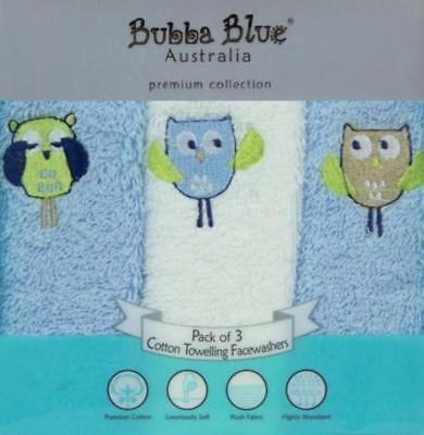 Bubba Blue Embroidered Baby Owl Boy 3 Gift Pack Face Washers