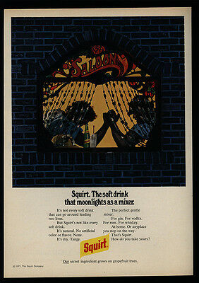 1972 SQUIRT Soft Drink - Arm Wrestle - Saloon Moonlight Stained Glass VINTAGE AD