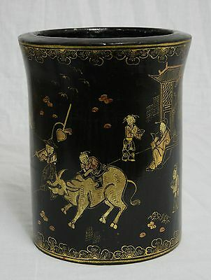 Chinese  Black  Lacquer  With  Gilt  Brush  Holder