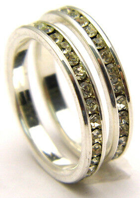 Sz7 Ring Set of 2 Matching Eternity Bands w/Clear CZ Stones Silver Tone