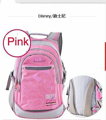 Disney PINK Waterproof School Bag Grades 3-6 Mickey Bags Children Girls Backpack