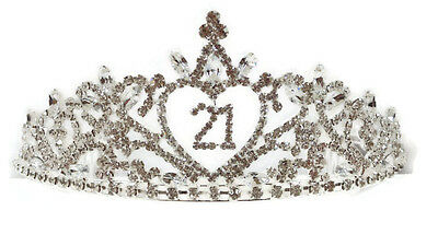 21st Birthday Rhinestone Tiara Crown - Brilliant Sparkly 21st Birthday Bling