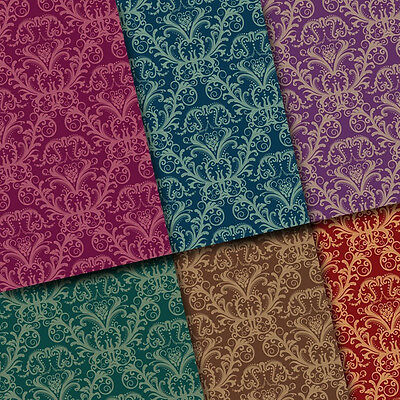 exclusive 48/ 24pc Classic Elegant Damask floral scrapbook paper 6 design