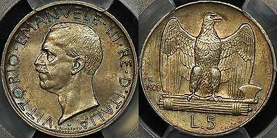 Italy 1929-R 5 Lire 5L KM #67.1 PCGS MS63 Uncirculated