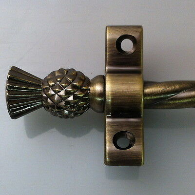Antique Brass 3/8 Inch Rope Stair Rods Thistle Finial (R02Rot)