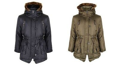 NEW Girls Minx Parka Winter Jacket Coat School Black Khaki Age 7 8 9 10 11 12 13