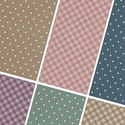 exclusive 48/ 24pc polka dot checker Kraft paper LOOK scrapbook paper 6 design