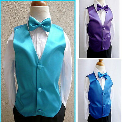 Boys Vest Bow tie 2 pc set Boys Formal Vest To Match Boy Suit Wedding Vest