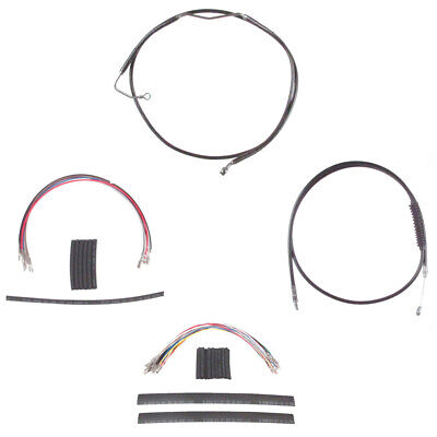 """Black Cable & Brake Line Cmpt Kit 12"""" Apes 2008-2013 Harley Touring w/ABS"""