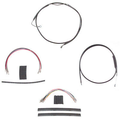 """Black Cable & Brake Line Cmpt Kit 14"""" Apes 2008-2013 Harley Touring w/ABS"""