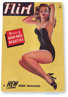 "TIN SIGN ""Flirt H-Heel"" Pin-up Metal Decor Wall Art Garage Shop Bar Cave A065"
