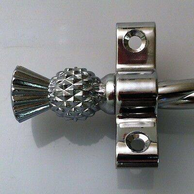 Polished Chrome 3/8 Inch Rope Stair Carpet Rod Thistle Finial (R03Rot)