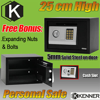 KENNER Personal Electronic Security Safe Box Access Safes Home Office 25cm BLACK
