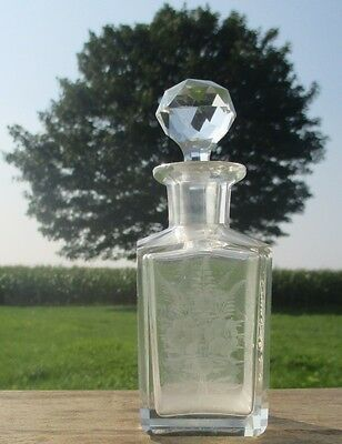 Perfume Bottle Engraved Glass Vintage Flowers Glass Stopper  Etched