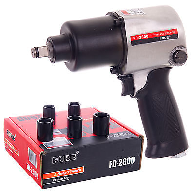 "Powerful Air Impact Wrench Gun 1/2""  SQ Drive 502ft-lbs + 5 Impact Sockets FORE"