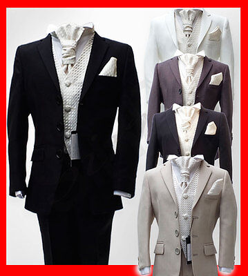 UK Boys 5 Piece Pageboy Wedding Cravat Suits in Black, Navy, Ivory, Grey Suit