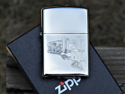 Zippo Lighter - Fish On - Large Mouth Bass - Engraved - Deep Carved - # 66912
