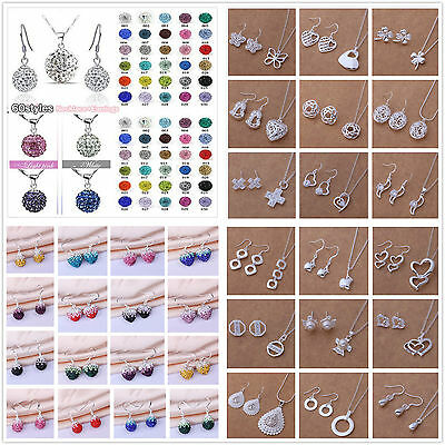 Classic Styles Genuine CZ Crystal Sets Lady 925Silver Necklace Earrings gift box