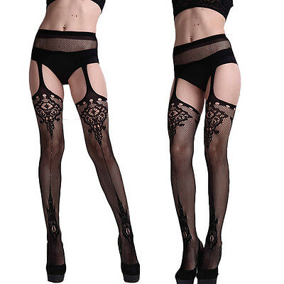 Tattoo Suspender Sheer Sexy Stockings Tights Lace Thigh-Highs Leggings Pantyhose