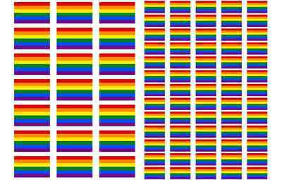 Kurdistan Flag Stickers rectangular 21 or 65 per sheet