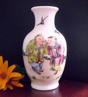 "6"" Porcelain China Vase, Chinese Children talking playing outside in field birds"