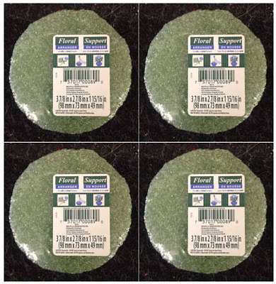 """4/"""" W X 2/"""" H NEW!! 2 PK LOT OF FLORAL SUPPORT GREEN FOAM ARRANGER ROUNDS . 2"""