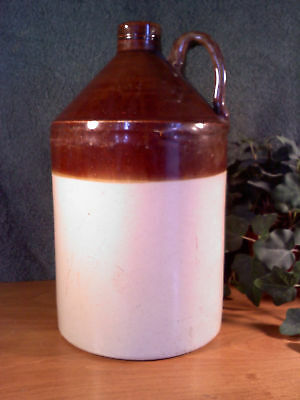 "Antique Brown and white pottery Crock whiskey Jug  11 5/8"" tall x 6 3/8"" dia"