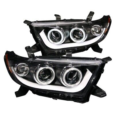 FOR TOYOTA HIGHLANDER 2011-2013 PROJECTOR HEADLIGHTS BLACK CLEAR (CCFL) Pair