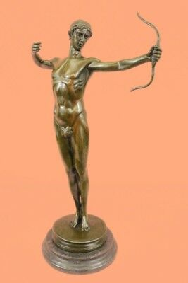 MALE NUDE ROMAN ARCHER PURE BRONZE FIGURE STATUE SIGNED FIGURINE ART SCULPTURE