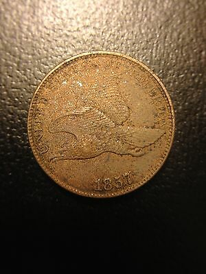 1857 Flying Eagle Cent XF/AU Penny Extremely Fine Sharp Feathers Small Letters