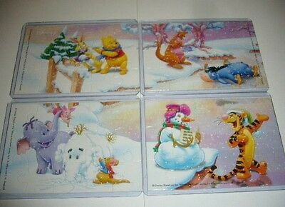 4 mini puzzle da collezione winnie the pooh kinder stagioni inverno