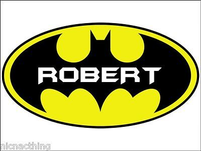 BATMAN LOGO WITH NAME ON Placemat.  Great for the whole family. A4 size