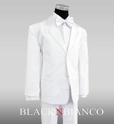 Formal Boys White Tuxedo Suit with White Bow Tie All Sizes for Kids