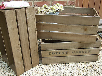 VINTAGE STYLE WOODEN APPLE CRATE storage box Fruit CRATES Bushel box Shabby Chic
