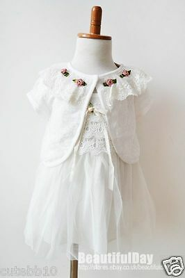 Baby Girl Vintage Lace Dress with Cardigan Christening Wedding Birthday Party