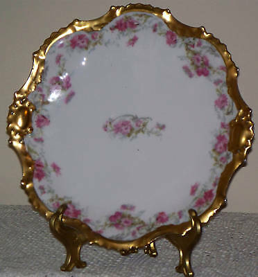 "Antique LIMOGES FRANCE 9 1/2"" PLATE  PINK FLOWERS and GOLD TRIM 100 years old"