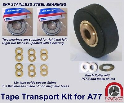 Revox Tape Transport Kit - Tape Guide bearings +  Pinch Roller for A77