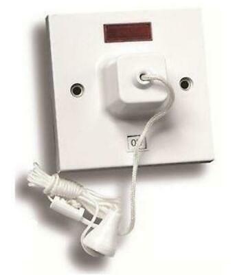 45amp Shower Pull Cord Ceiling Switch DP Neon 1 Way