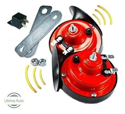 12V Loud Dual Tone Twin Snail Air Horn With Fittings for CARS VANS BIKES BOATS