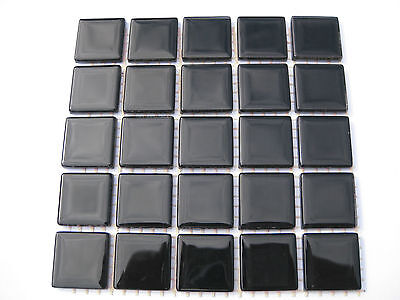 "Black Glass Tiles 25 x pcs for MOSAIC & Glass Crafts Approx ""2.2cm x 2.2cm"""