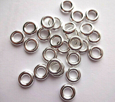 WHOLESALE 8mm Chunky Donut Bright Silver Soldiered Closed Jump Rings Connectors