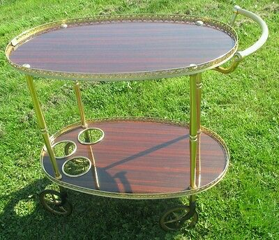 Vintage Bar Cart Mid Century Italian Hollywood Regency Gold Chrome Brown Oval