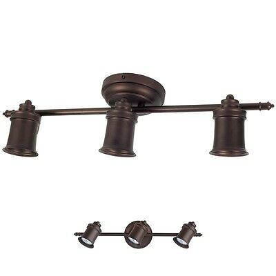 3 Light Track Lighting Ceiling Wall Interior Lamp Fixture, Oil Rubbed Bronze