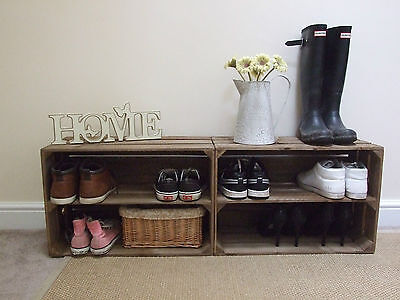 2 x SHABBY CHIC WOODEN SHOE RACK RUSTIC VINTAGE SHOE / DISPLAY SHELF APPLE CRATE