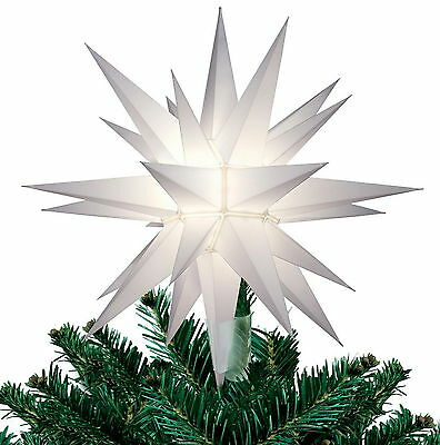 "NEW 12"" WHITE STAR Light Up CHRISTMAS TREE TOPPER Indoor Decoration"