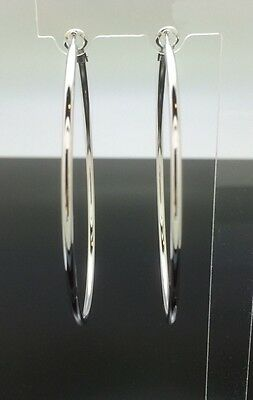 6.5cm Extra Large Round Hoop Earrings 14ct White Gold GF Wedding Silver Big